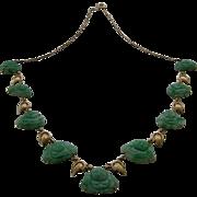 14K Gold 9 Carved Jade Happy Buddhas Link Necklace