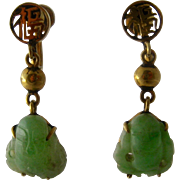 Mid 1900s 14K Carved Jade Buddhas Drop Earrings Screw Back