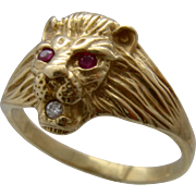 Vintage 14K Lions Head Ring Ruby Eyes Diamond Mouth Sz 14