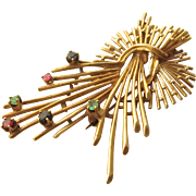 14K Stylized Flower Spray Pin w/ Emeralds, Rubies, Sapphires