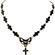 10K Yellow Gold Onyx Inlay Cross Moon Clouds Necklace 20""