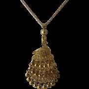 14 & 18K Gold Filigree Peacock Chandelier Pendant Necklace