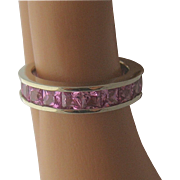 14K White Gold Pink Sapphires Eternity Band 4 TCW Sz 8