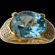 14K Blue Topaz Pave Diamonds Cocktail Ring Size 3 1/2