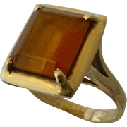 Classic 14K Gold w/ Square Amber Glass Cocktail Ring Sz 7
