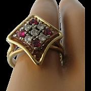 10K Diamonds Rubies Diamond Shaped Reticulated Ring by Vollmar Sz 6