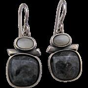 Sterling Labradorite Moonstone Dangle Earrings signed S.A.W. S.A.W.