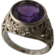 Mira Sadi Jewels Sterling Amethyst Ring Water Lilies Cut Work Sz 7