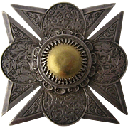 Victorian Sterling Hand Engraved Maltese Cross Pin Pendant w Gold Center