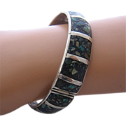 Vintage Mexico Sterling Mosaic Inlay Hinged Bracelet signed ETC