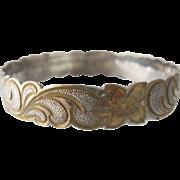 Hawaiian Sterling Gold Plated Plumeria Scroll Bangle Bracelet Small