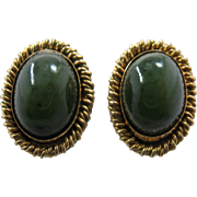 Mid 1900s 14K Spinach Jade Cabochon Clip Earrings