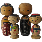 Mid 1900s Family 4 Kokeshi Dolls HP Wood Japan