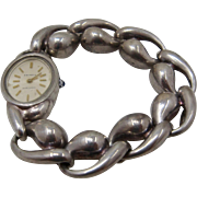 Early Charles Krypell Modernist Sterling Silver Watch Bracelet