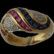 Levian 18K Rubies Sapphires Diamonds Swirls Ring Sz 7