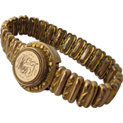 Ca 1905 Expandable Gold Fill Sweetheart Bracelet w/ Photo Locket