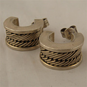 Lois Hill Sterling Weave Design Hoop Earrings w/ Box