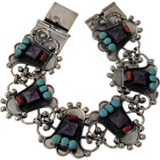 Big Taxco Sterling Bracelet w/ Amethyst Turquoise Coral 9""