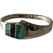 Vtg Taxco 950 Silver Cuff Malachite Onyx Inlay Bracelet