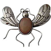 SOLD Big 1930s Mexican Silver Agate Fly Bee Pin Pre-Spratling Jewelry