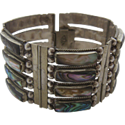 Vintage Mexico Sterling Abalone Wide Panels Bracelet by RLS