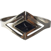 "Modernist Taxco Sterling Sodalite Clamper Bracelet 7.5"""