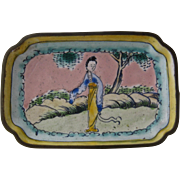 Ca 1930 Miniature Chinese Enamel Tray w/ Woman
