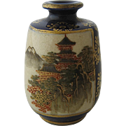 Miniature Japanese Satsuma Vase HP Cobalt Gilt Signed
