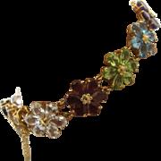 """14K Multi Gemstone Flower Link Bracelet 20 TCW 7"""" Long"""