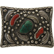 Heavy Navajo Sterling Turquoise Coral Belt Buckle Rectangular