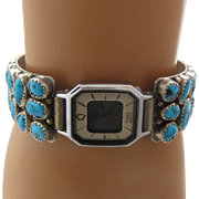Vtg Navajo Sterling Turquoise Nuggets Band Timex Mystery Watch 1980s Sz 6 1/4