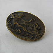 Ca 1920s Brass Tie Clip Neptune Poseidon w/ Horse Riding Waves