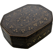 Antique Brass Black Enamel Snuff Box Ornate Niello