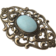 Art Nouveau Sash Pin Silver Plated Blue Art Glass