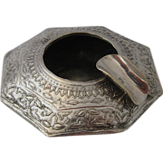 Chased 800 Silver Small Octagonal Ashtray Turkish
