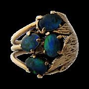 Large Artist Made 14K Black Opals Flower Ring Sz 8.5