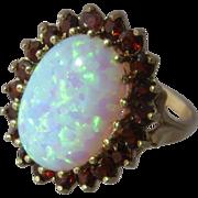 Vintage 9K Opal & Garnets Cluster Ring English Sz 6 3/4