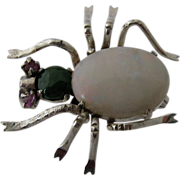Sterling Spider Pin w/ Opal Jade Body Ruby Eyes mid 1900s