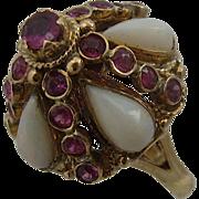 18K Opals & Rubies Thai Princess Harem Ring Sz 5 3/4