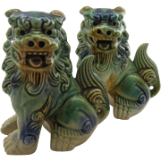 Two Vintage Chinese Ceramic Foo Dogs Majolica Glaze