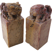 Pair Chinese Carved Soapstone Chops Seals Foo Dog w/ Pup