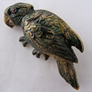 Victorian Enameled Brass Parrot Bird Pin Brooch