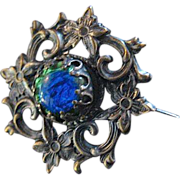 Vintage Art Nouveau Peacock Eye glass pin or brooch