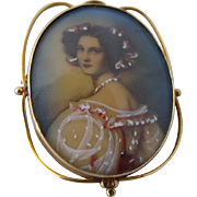 1920s-40s 14K Portrait Miniature Woman in Pink Pin Pendant
