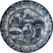 Ca 1900 Pittsburg, Pa Souvenir Flow Blue Plate Pittsburgh