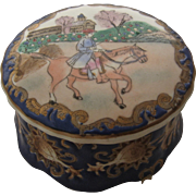 Early 1900s European Porcelain Dresser Box enameled Equestrian Scene