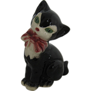 SOLD 1950s Royal Copley Cat Figurine Black & White w/ Pink Bow