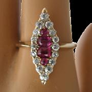 Art Deco 14K Rubies Diamonds Marquise Ring Sz 7