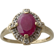14K 1.4 Ct Ruby w/ Diamonds Ring UTC Size 10