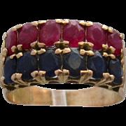 Ca 1940 18K Rubies & Sapphires Ring 2.25 TCW Rose Gold Sz 7 1/2